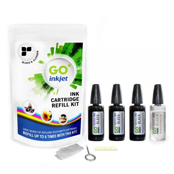 Black Ink Refill Kit for Dell Printers with Cleaning Fluid
