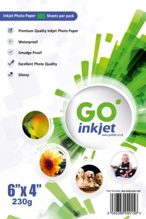 GO Inkjet 6x4 Photo Paper Glossy 230gsm 100 sheets