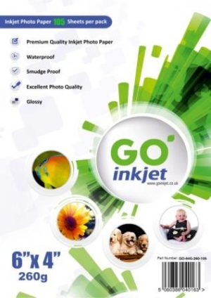 GO Inkjet 6x4 Photo Paper Glossy 260gsm 100 sheets