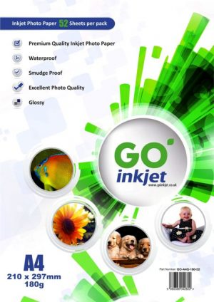 GO Inkjet A4 Glossy Photo Paper 180gsm 50 Sheets