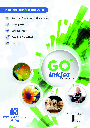 GO Inkjet A3 Photo Paper Glossy 260gsm 20 sheets