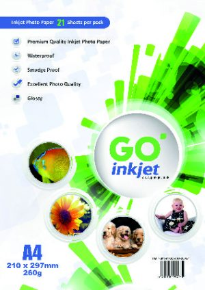 GO Inkjet A4 Photo Paper Glossy 260gsm 20 Sheets