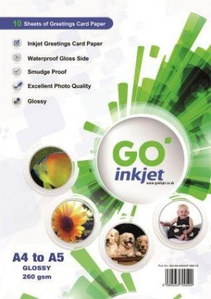 GO Inkjet A4 to A5 Glossy Greetings Card Paper 260gsm