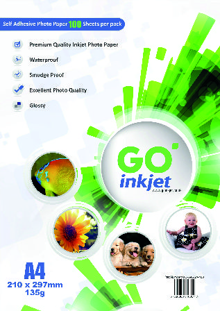 Go Inkjet A4 Self Adhesive Sticker Photo Paper Glossy 100 Sheets